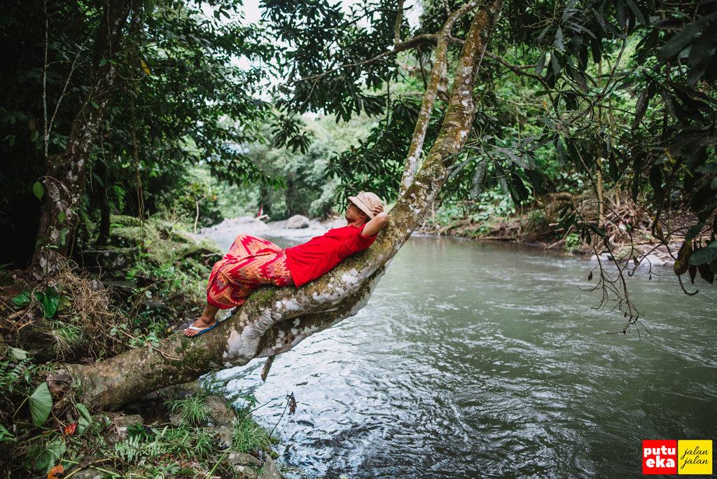 Putu Eka Jalan Jalan sedang beristirahat di batang pohon yang menjorok ke tengah sungai