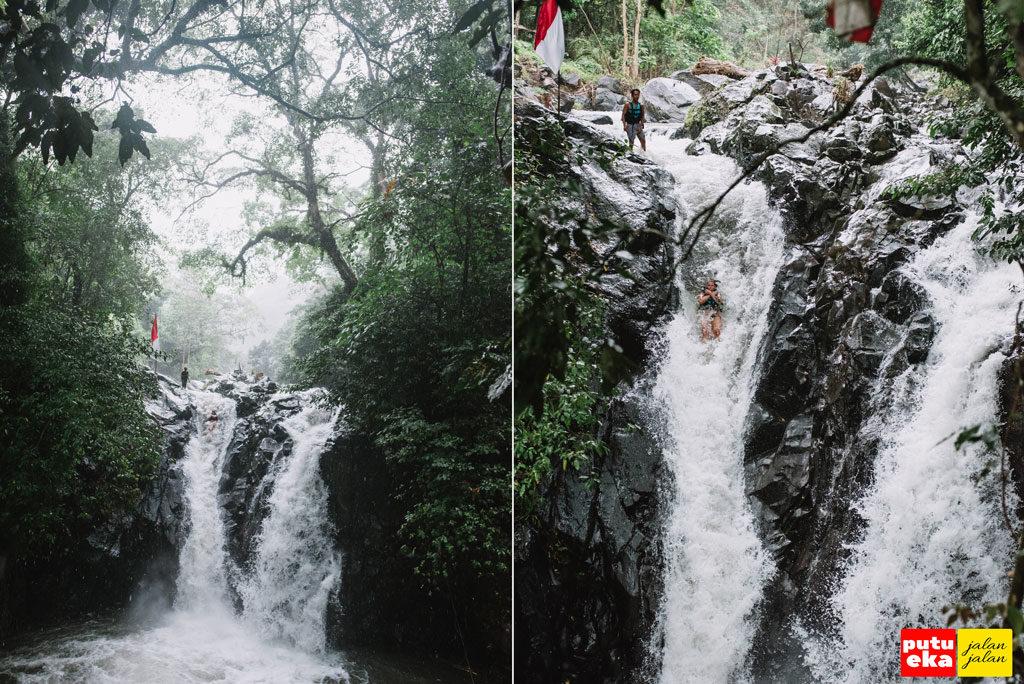 Meluncur kebawah ditengah derasnya Air Terjun Kroya