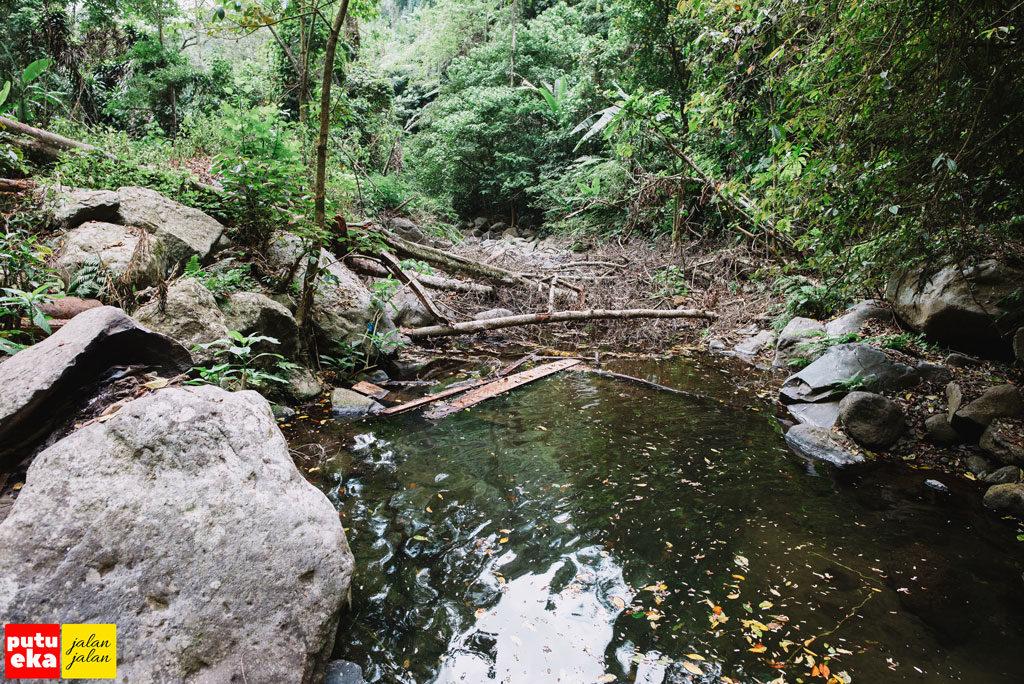 Pohon yang tumbang menutup aliran air Blemantung