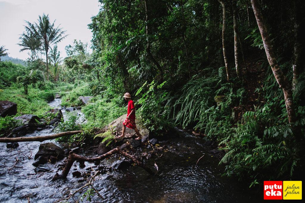 Menuju sebatang kayu yang melintang diatas aliran air