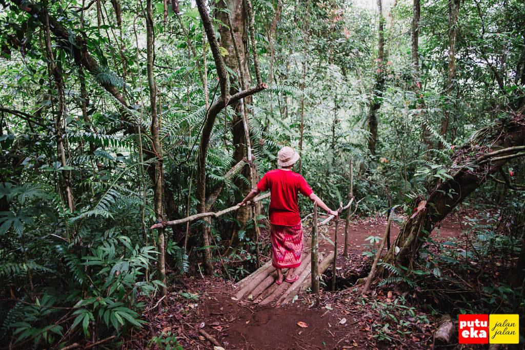 Melewati jembatan kecil yang terbuat dari batang-batang pohon