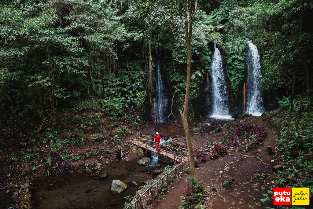 Air Terjun Two atau Twin Banyu Wana Amertha lengkap dengan jembatan dari kayu