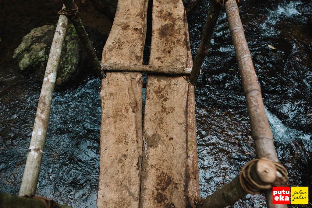 Jembatan yang terbuat dari dua buah papan kayu dengan batang kayu sebagai pegangannya