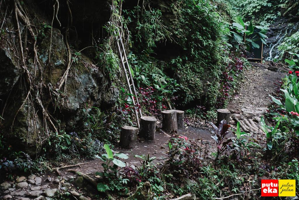 Balok-balok kayu yang diletakkan sebagai tempat duduk