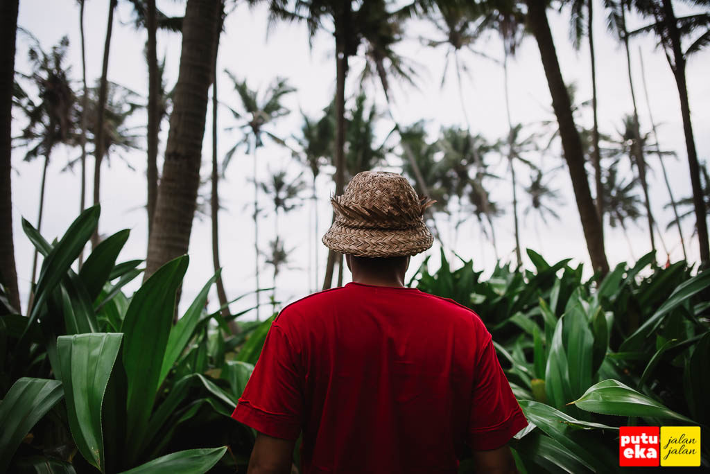 Putu Eka Jalan Jalan berada diantara tanaman Pandan di Pantai Pasut