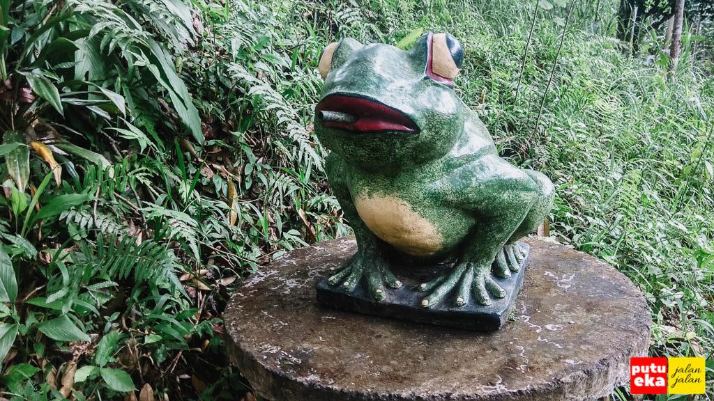 Patung katak di tangga turun menuju Air Terjun Kanto Lampo